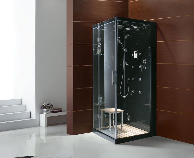 Steam Planet Jupiter Steam Shower in Black 35L x 35W x 84H M6023