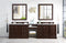 "James Martin De Soto 118"" Double Vanity Set, Burnished Mahogany with Makeup Table, 3 CM Carrara Marble Top 825-V118-BNM-DU-CAR"