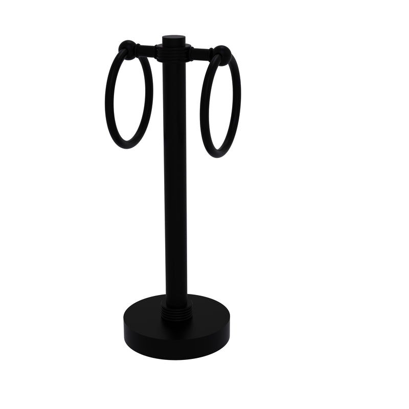 Allied Brass Vanity Top 2 Towel Ring Guest Towel Holder with Groovy Accents 953G-BKM