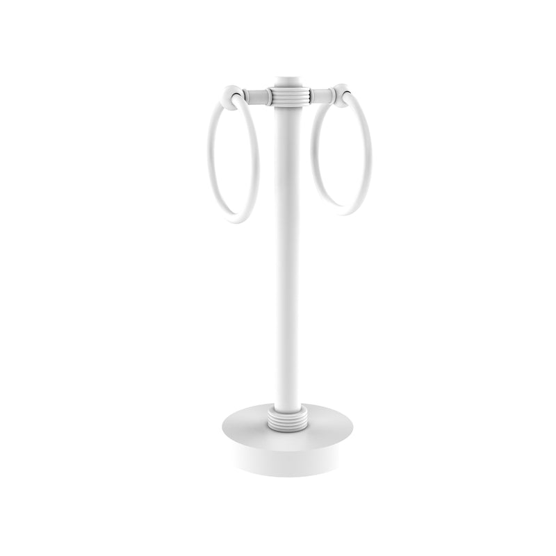 Allied Brass Vanity Top 2 Towel Ring Guest Towel Holder with Groovy Accents 953G-WHM