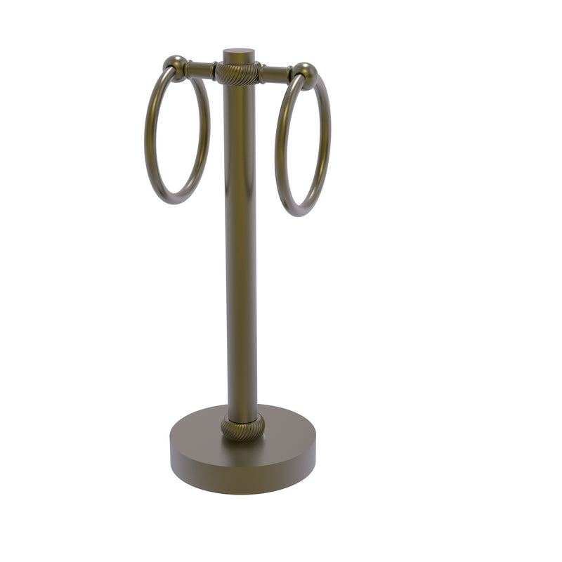 Allied Brass Vanity Top 2 Towel Ring Guest Towel Holder with Twisted Accents 953T-ABR
