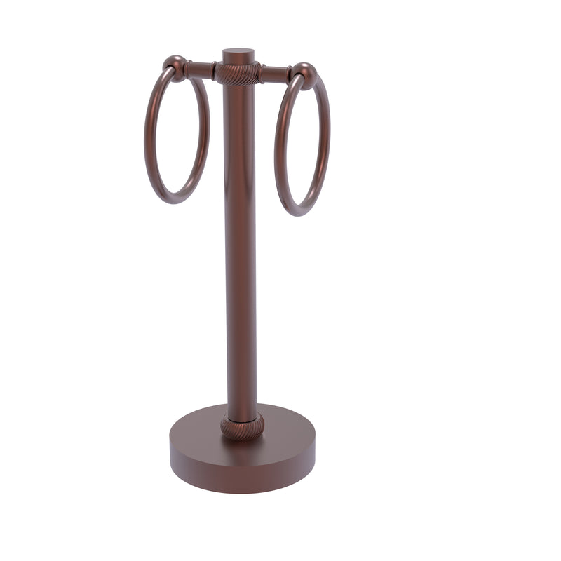 Allied Brass Vanity Top 2 Towel Ring Guest Towel Holder with Twisted Accents 953T-CA