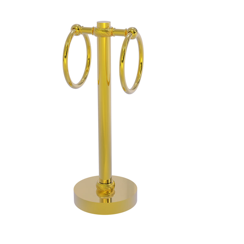 Allied Brass Vanity Top 2 Towel Ring Guest Towel Holder with Twisted Accents 953T-PB