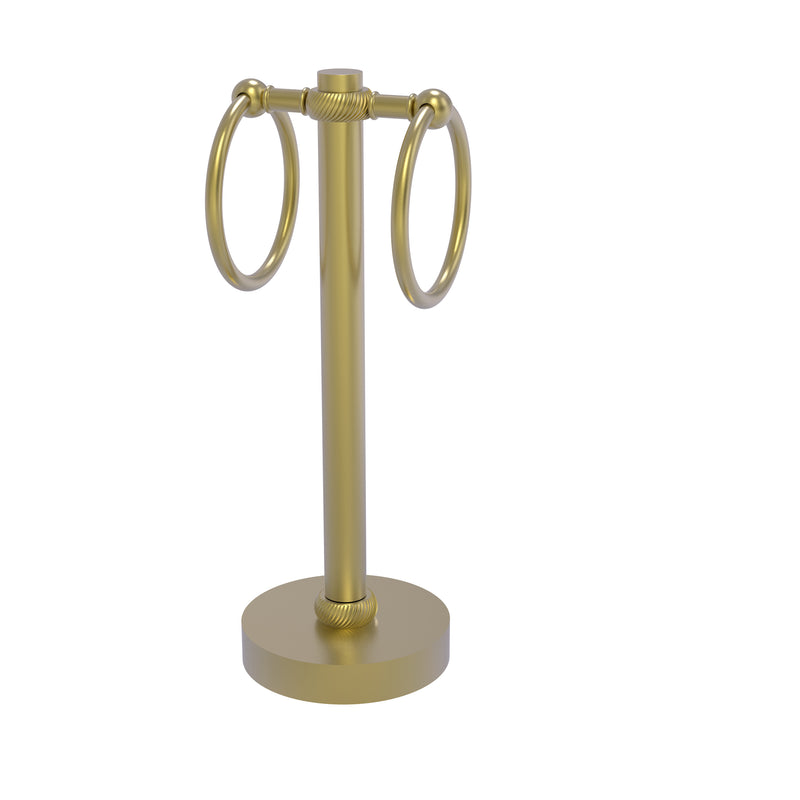 Allied Brass Vanity Top 2 Towel Ring Guest Towel Holder with Twisted Accents 953T-SBR