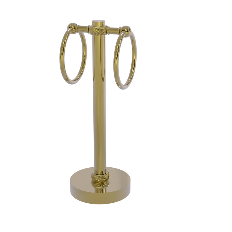 Allied Brass Vanity Top 2 Towel Ring Guest Towel Holder with Twisted Accents 953T-UNL