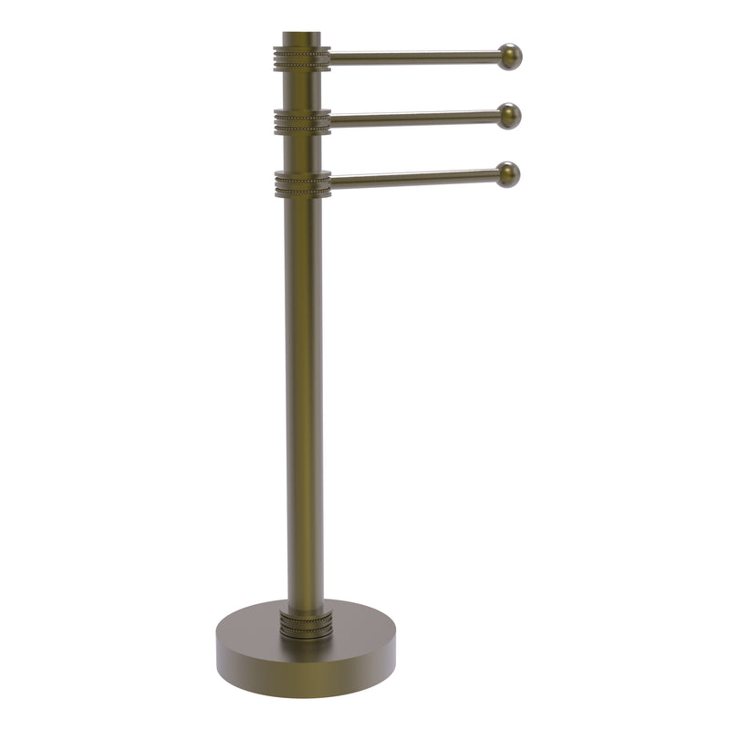 Allied Brass Vanity Top 3 Swing Arm Guest Towel Holder with Dotted Accents 973D-ABR