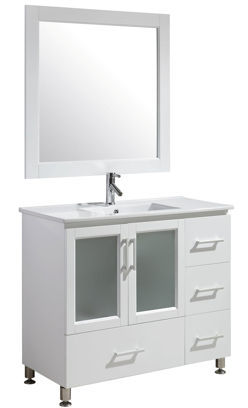 "Design Element Stanton 40"" Single Sink Vanity Set in White Finish"