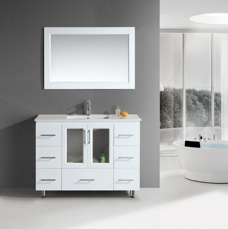 "Design Element Stanton 48"" Single Sink Vanity Set with Drop-In Sink in White"
