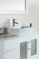 "Design Element Stanton 48"" Single Sink Vanity Set with Vessel Sink in White"