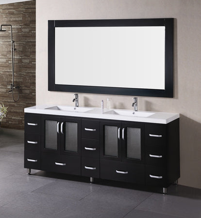 "Design Element Stanton 72"" Double Sink Vanity Set in Espresso"
