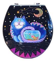 Buggy Whip Fishbowl Cheshire Cat Hand Painted Toilet Seat