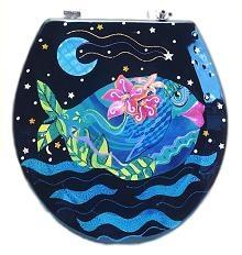 Buggy Whip Gorgeous Guppy Hand Painted Toilet Seat in Blue Sea