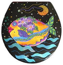 Buggy Whip Lemon Drop Guppy Hand Painted Toilet Seat in Blue Sea