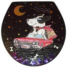Buggy Whip Cruis'n K-9 Hand Painted Toilet Seat Dog In Red Cadilac