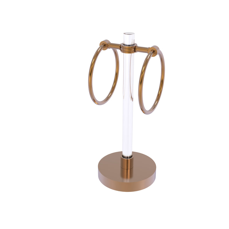 Allied Brass Clearview Collection Vanity Top Guest Towel Ring with Dotted Accents CV-GTRSD-10-BBR