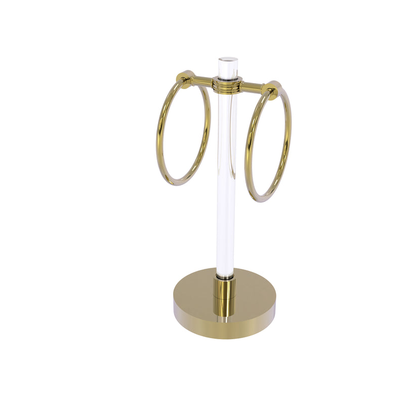 Allied Brass Clearview Collection Vanity Top Guest Towel Ring with Dotted Accents CV-GTRSD-10-UNL
