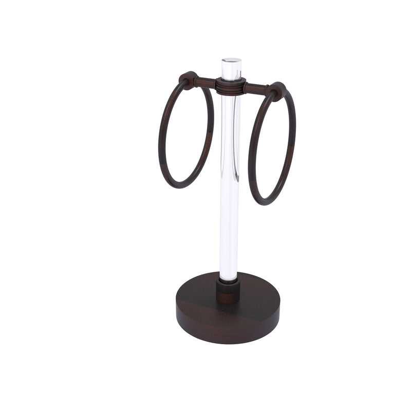 Allied Brass Clearview Collection Vanity Top Guest Towel Ring with Dotted Accents CV-GTRSD-10-VB