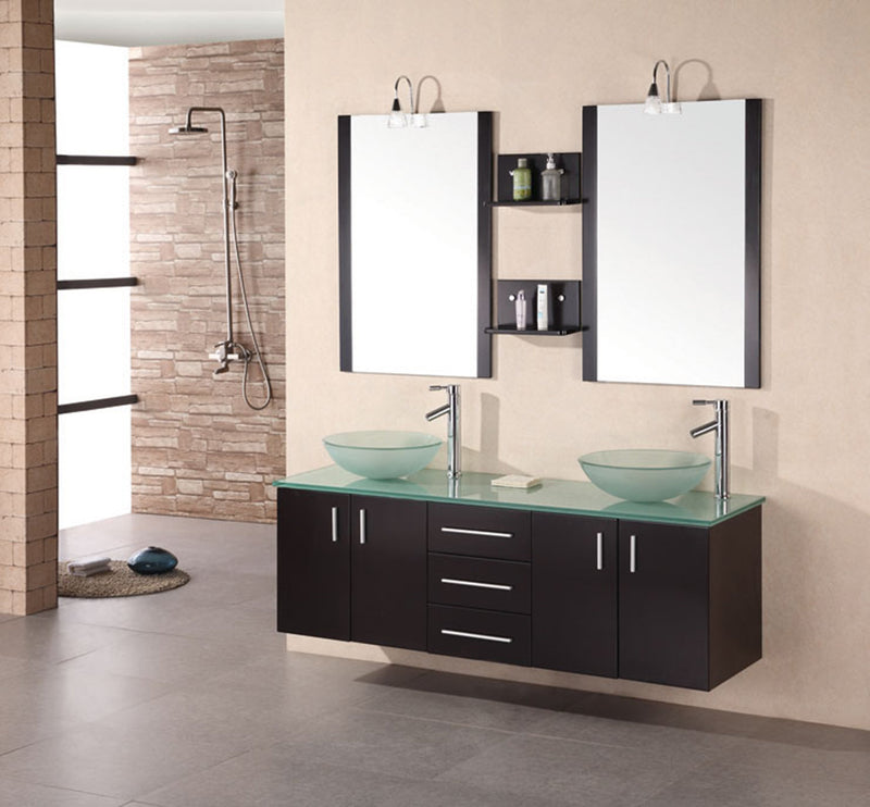 "Design Element Portland 61"" Double Sink - Wall Mount Vanity Set in Espresso"