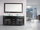 "Design Element Waterfall 72"" Double Sink Vanity Set in Espresso"