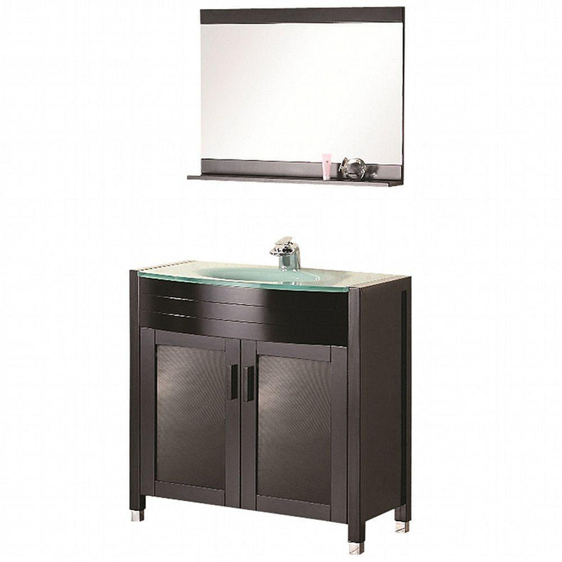 "Design Element Waterfall 48"" Single Sink Vanity Set with Glass Top"