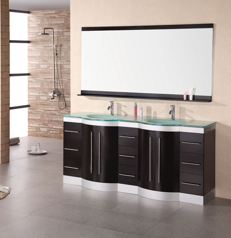 "Design Element Jade 72"" Double Sink Vanity Set in Espresso with Glass Top"