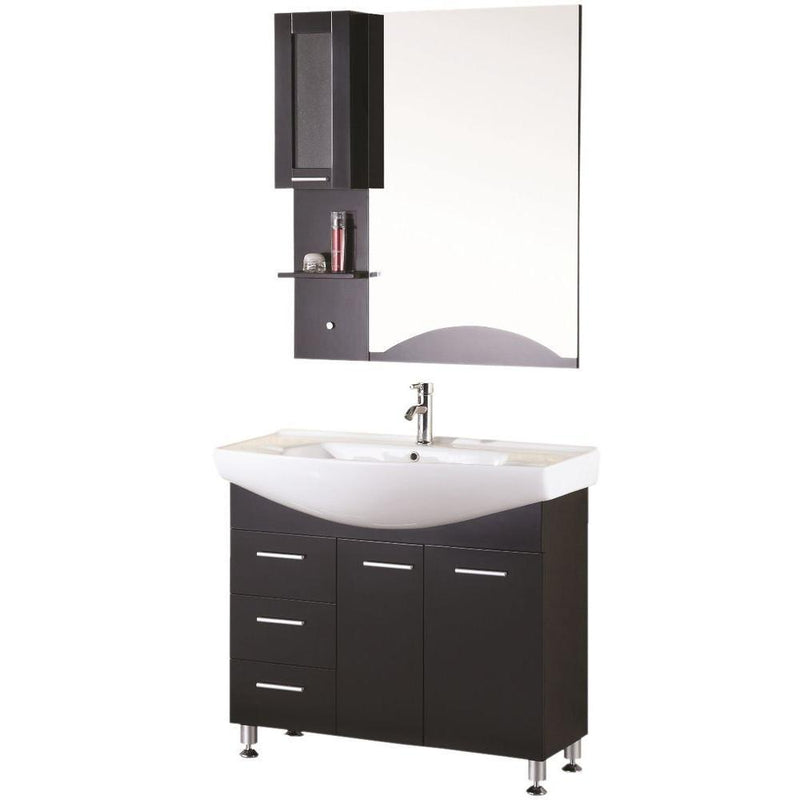 "Design Element Sierra 40"" Single Sink Vanity Set in Espresso"