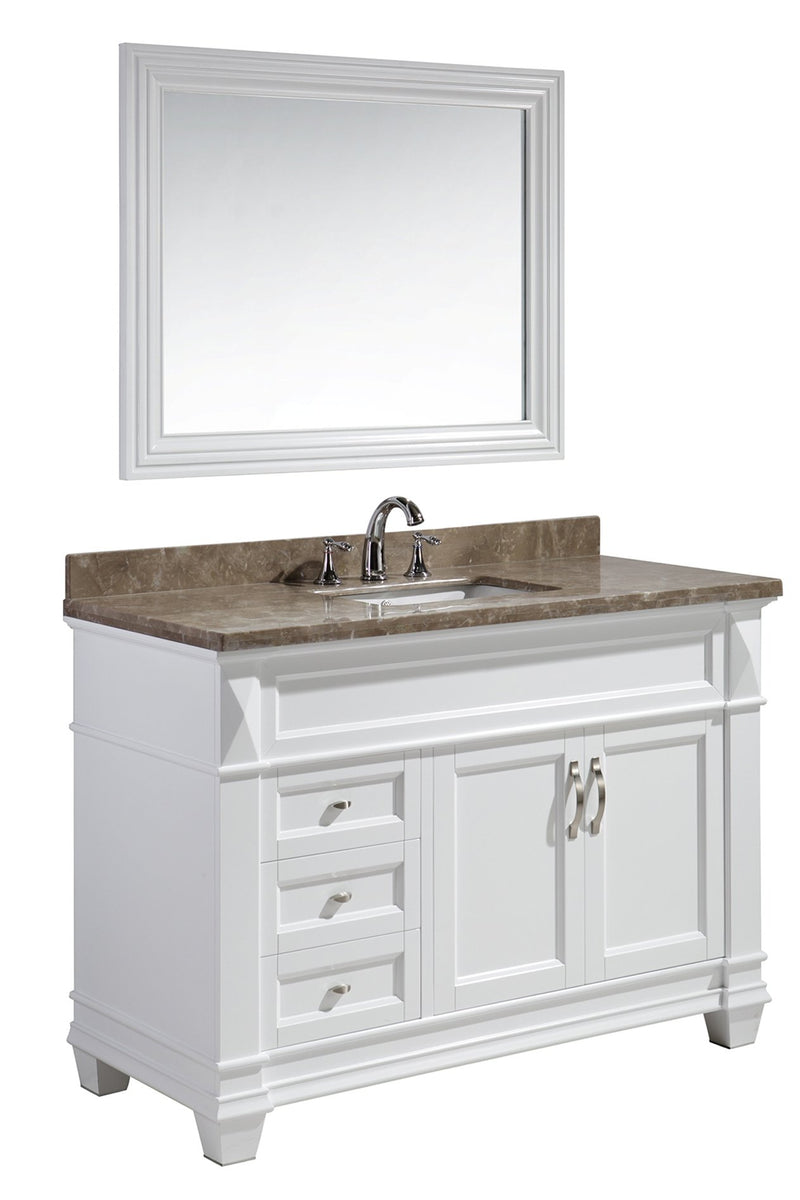 "Design Element Hudson 48"" Single Sink Vanity Set in White with Crema Marfil Marble Top"