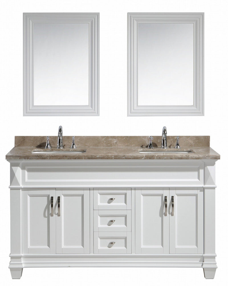 "Design Element Hudson 61"" Double Sink Vanity Set in White with Crema Marfil Marble Countertop"