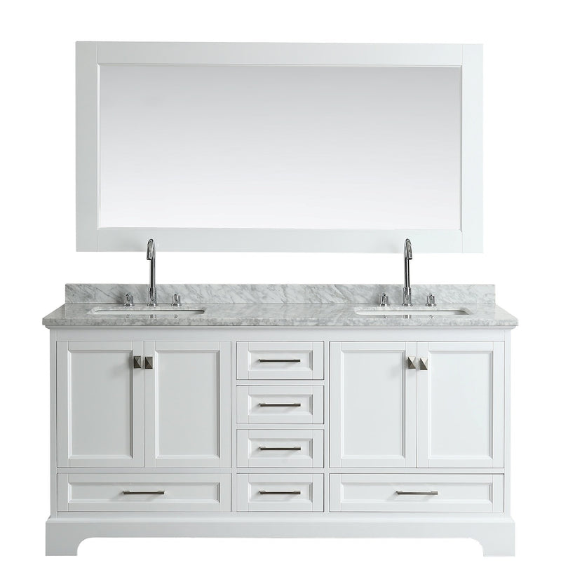 "Design Element Omega 72"" Double Sink Vanity in White"