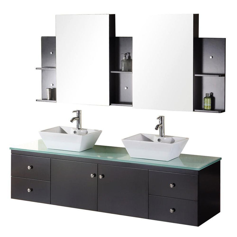 "Design Element Portland 72"" Double Sink - Wall Mount Vanity Set in Espresso"