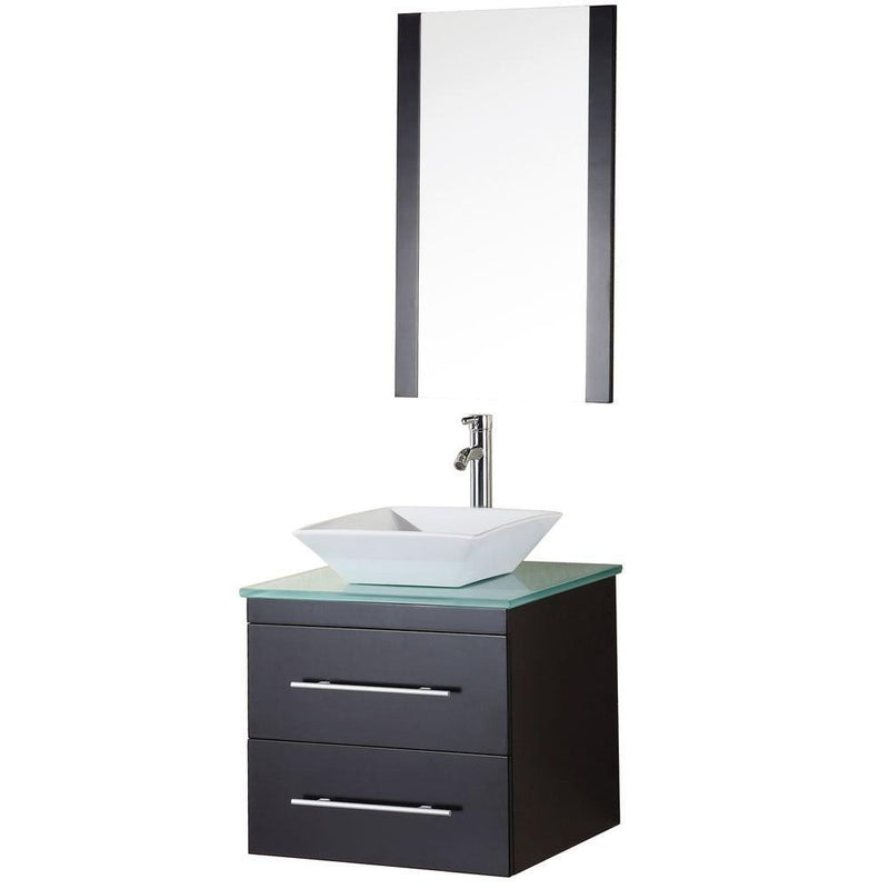 "Design Element Portland 24"" Single Sink - Wall Mount Vanity Set in Espresso with Glass Top"