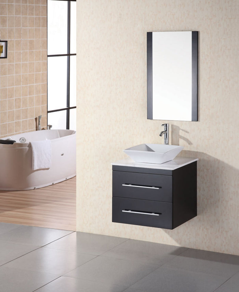 "Design Element Portland 24"" Single Sink - Wall Mount Vanity Set in Espresso with White Marble Top"