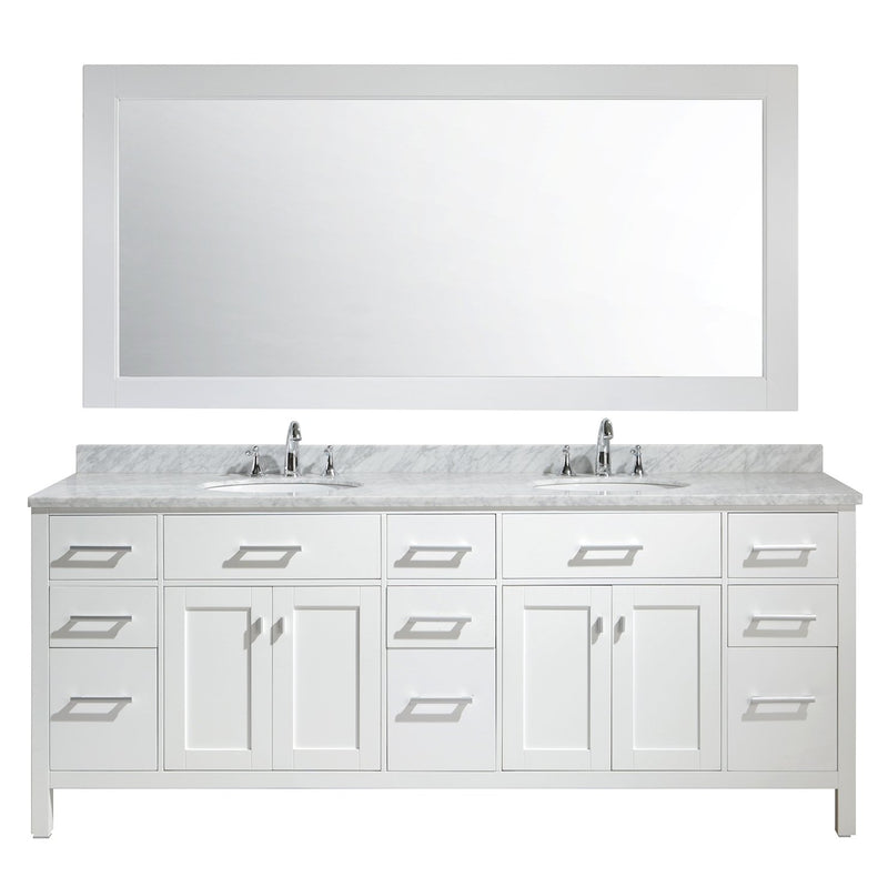 "Design Element London 84"" Double Sink Vanity Set in White Finish"
