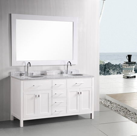 "London 61"" Double Sink Vanity Set in White"