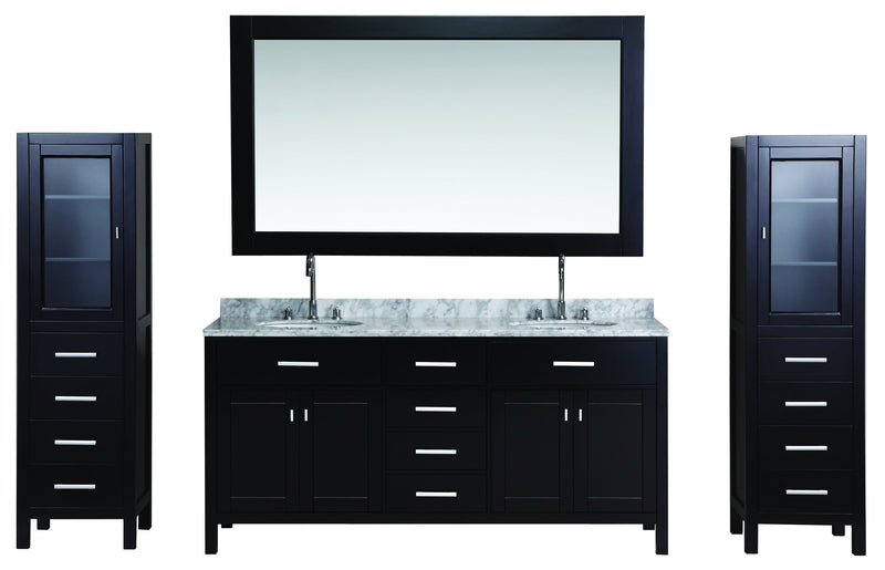 "Design Element London 72"" Double Sink Vanity Set in Espresso with Two matching linen cabinet in espresso"