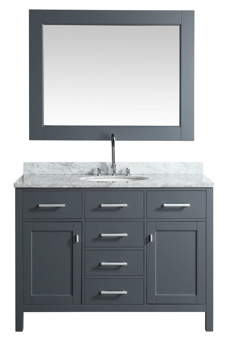 "Design Element London 48"" Single Sink Vanity Set in Gray Finish"