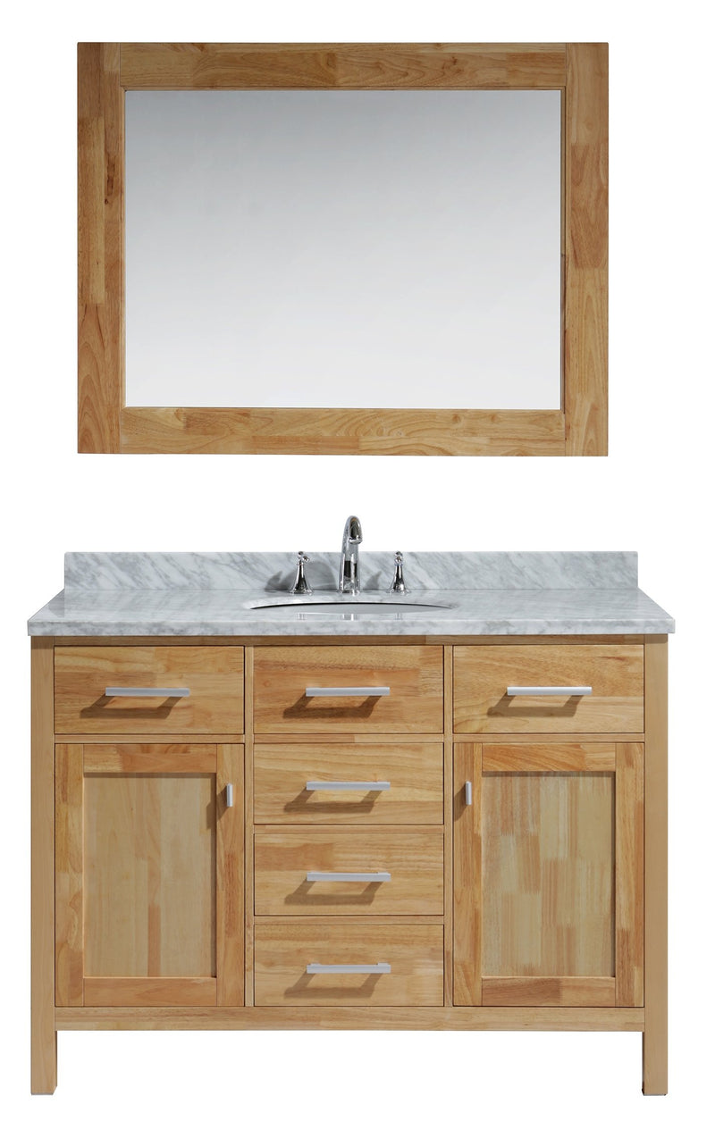 "Design Element London 48"" Single Sink Vanity Set in Honey Oak Finish"