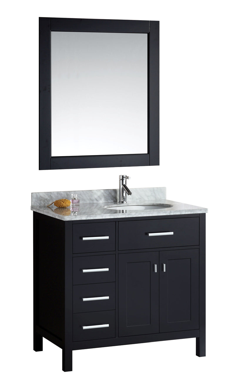 "Design Element London 36"" Single Sink Vanity Set in Espresso Finish with Drawers on the Left"