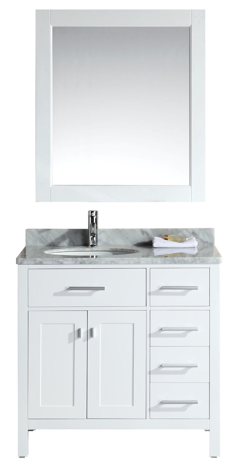 "Design Element London 36"" Single Sink Vanity Set in White Finish with Drawers on the Right"