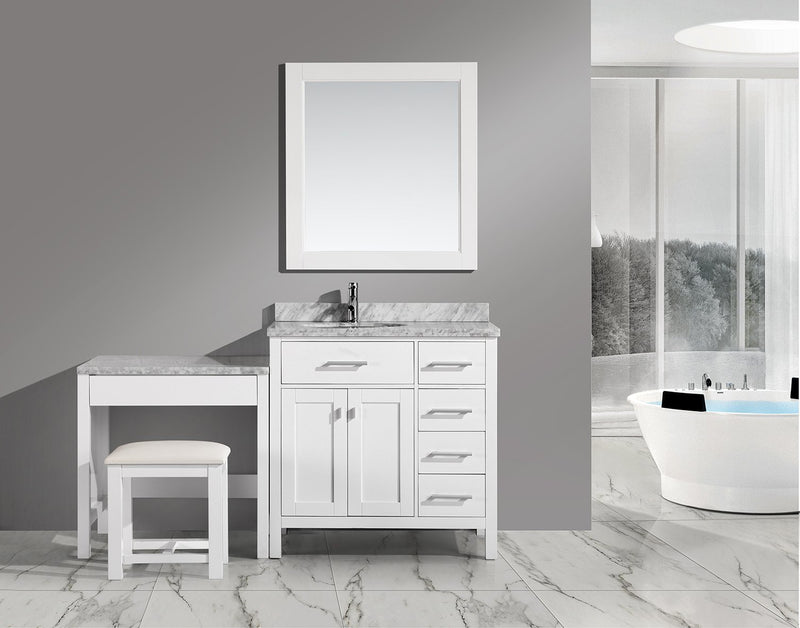 "Design Element London 36"" Single Sink Vanity Set in White with One Make-up table in White"