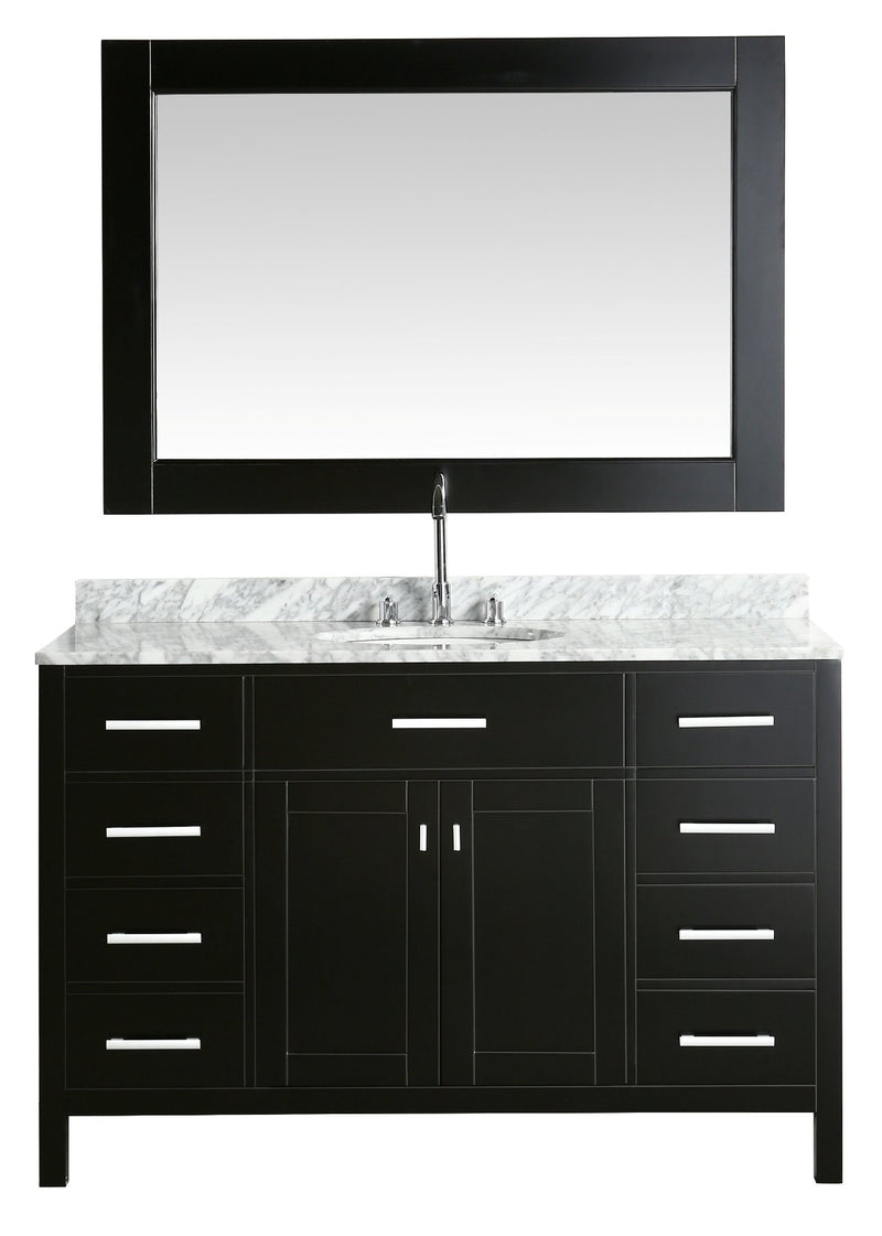 "Design Element London 54"" Single Sink Vanity Set in Espresso with White Carrera Marble Top"