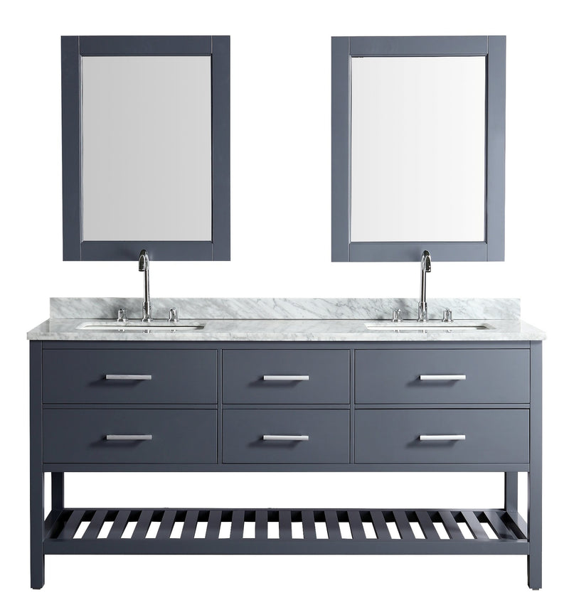 "Design Element London 72"" Vanity in Gray with Marble Vanity Top in Carrera White with White Basin and Mirror"