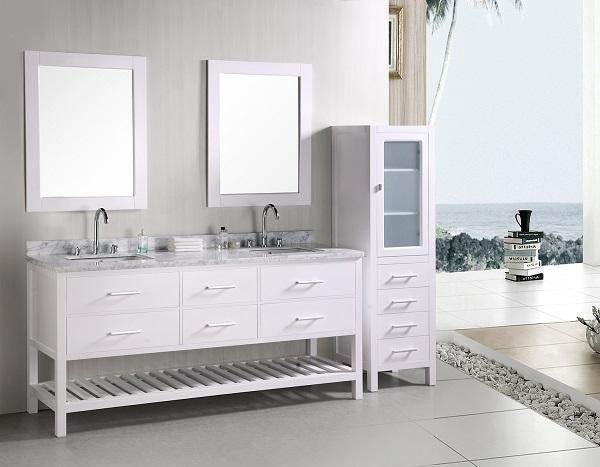 "Design Element London 72"" Double Sink Vanity Set in White"