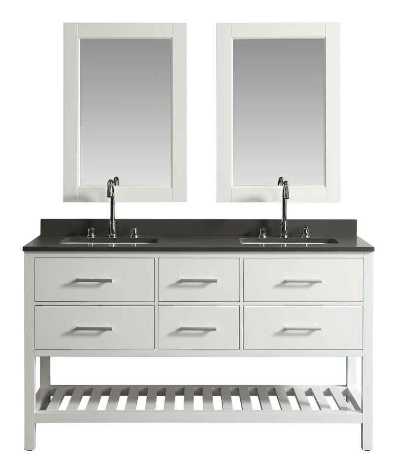 "Design Element London 61"" Double Sink Vanity Set in White with Open Bottom"