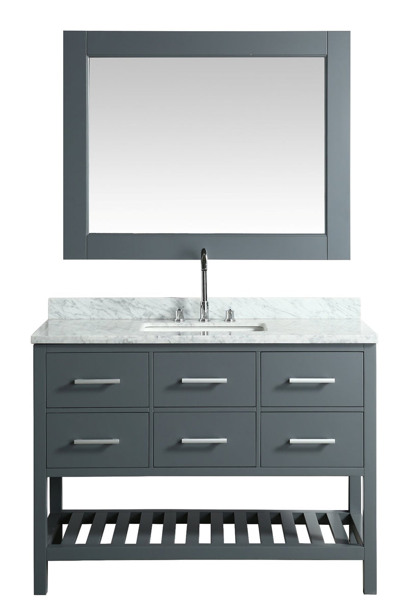 "Design Element London 48"" Vanity in Gray with Marble Vanity Top in Carrera White with White Basin and Mirror"