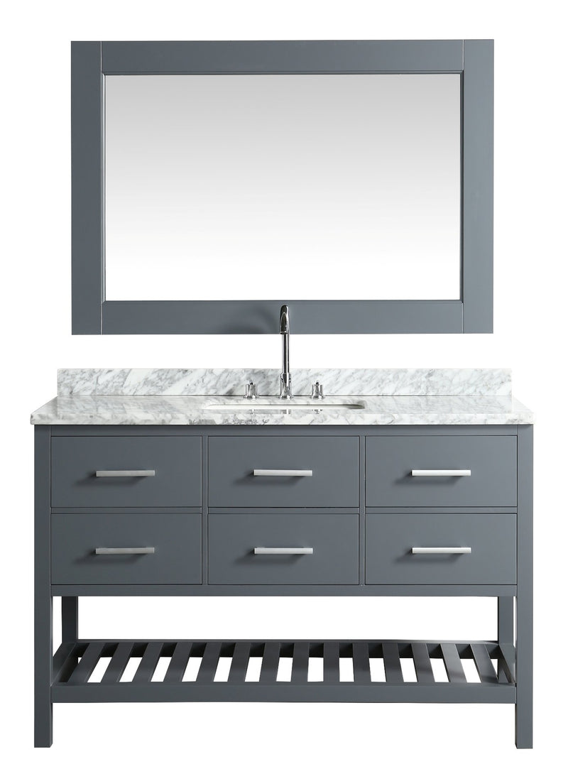 "Design Element London 54"" Single Sink Vanity Set in Gray with White Carrera Marble Top"