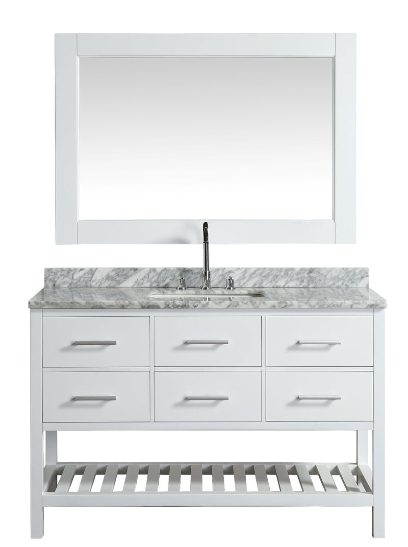 "Design Element London 54"" Single Sink Vanity Set in White with White Carrera Marble Top"