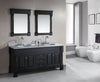 "Marcos 72"" Double Sink Vanity Set with Carrara White Marble Countertop in Espresso"