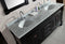 "Design Element Marcos 72"" Double Sink Vanity Set with Carrara White Marble Countertop in Espresso"