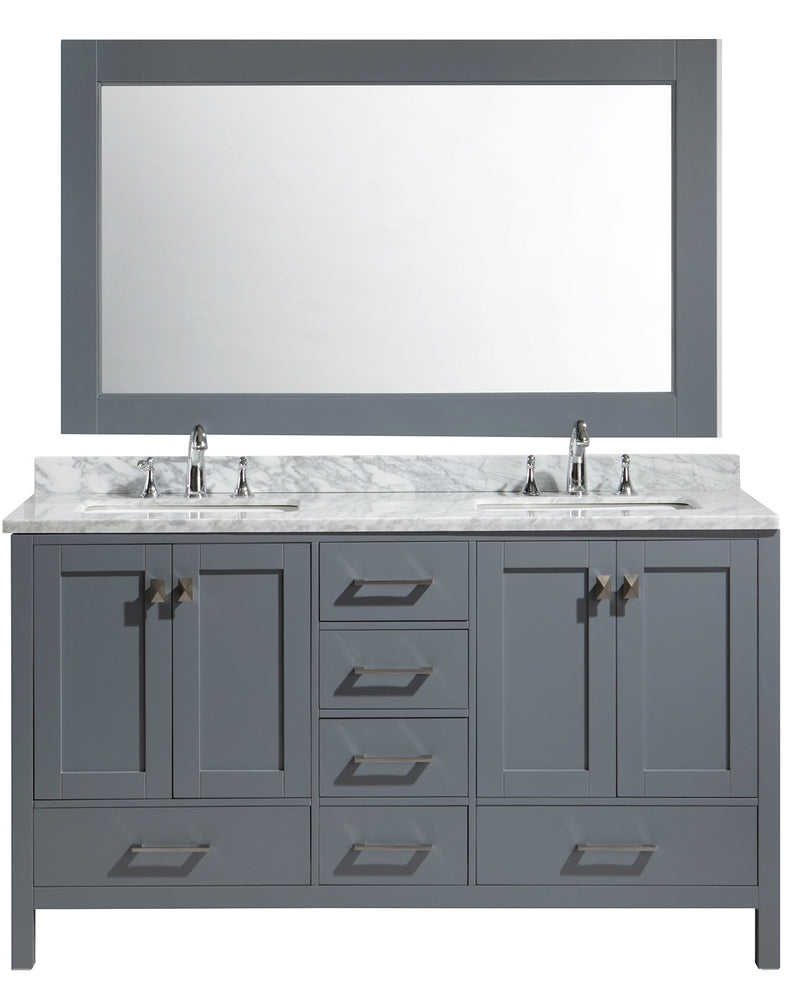 "Design Element London 61"" Double Sink Vanity Set in Gray Finish"